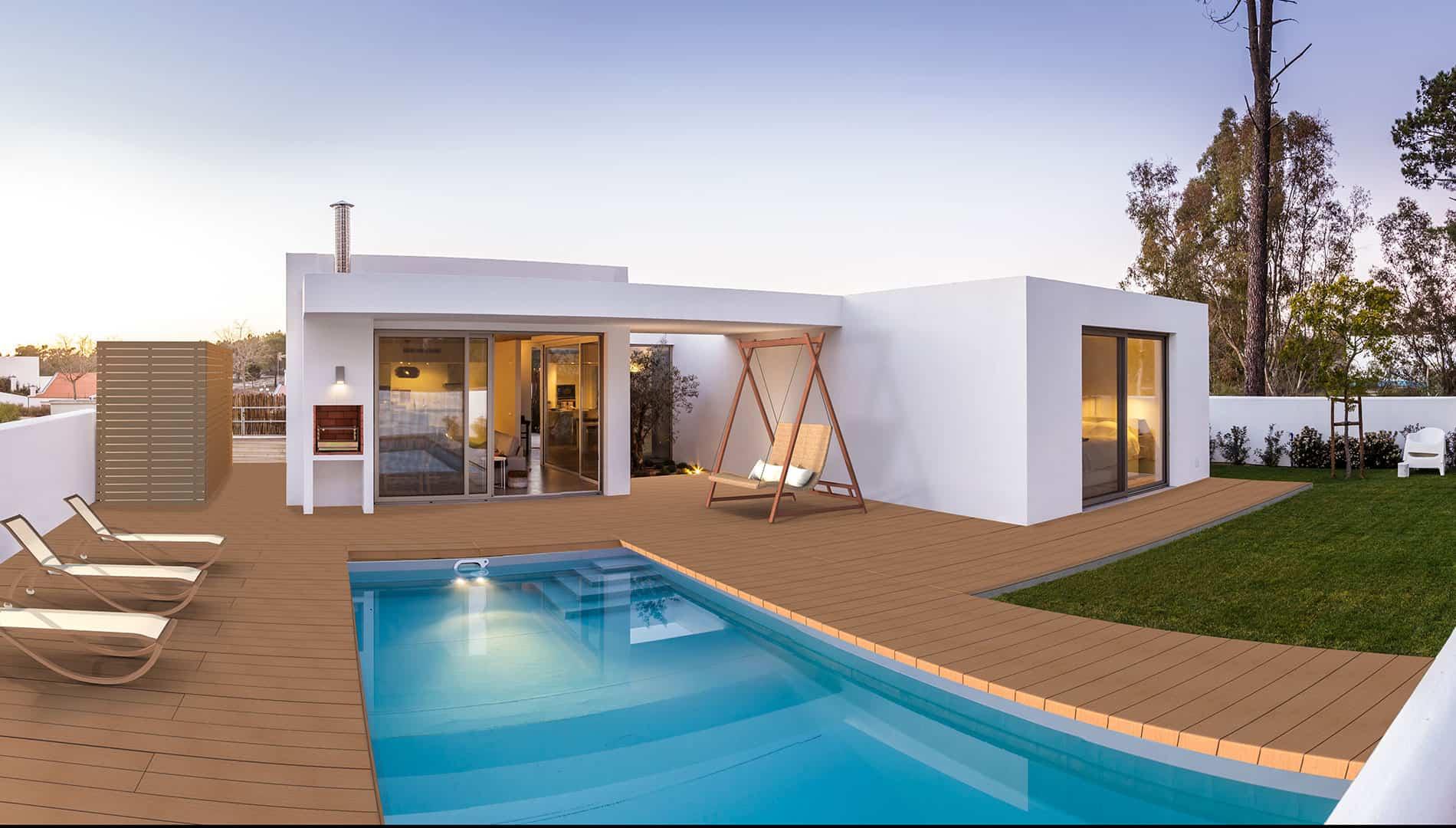 Einstein mc2 240 x 32 im Verbund mit mc2 120 x 32 und a2 80 x 80, cottage Design, Teak, klassisches Terrassendeck.