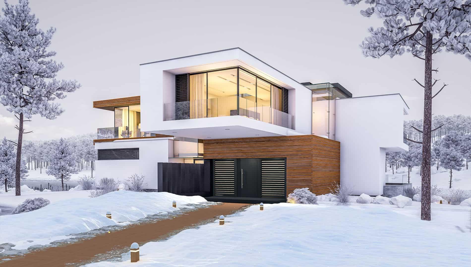 Einstein a2 therm, cottage Design, Teak, im Mörtelbett verlegter Hauszugang, beheizt
