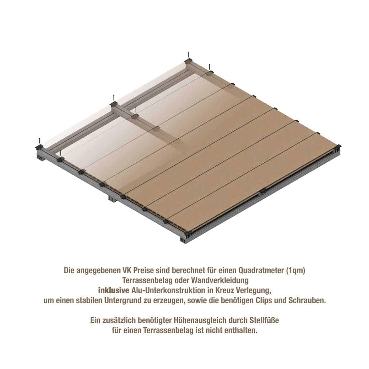 1qm Boden mit Unterkonstruktion, Clips und Schrauben