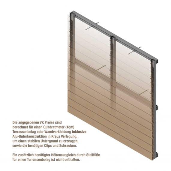 1qm Fassade mit Unterkonstruktion, Clips und Schrauben